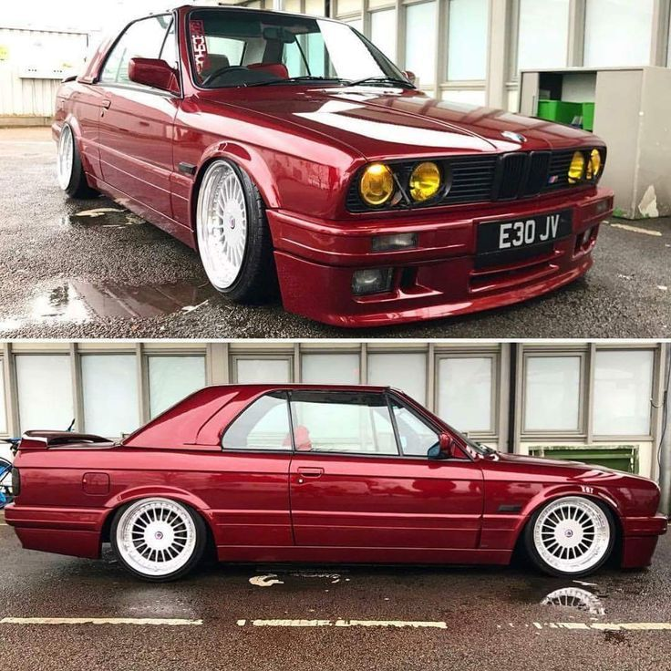 Bmw E30 3 Series Cabrio Burgundy Slammed 3series Bmw Burgundy