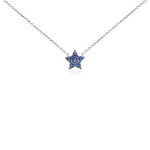 Mini Sapphire Star Pendant in 14k White Gold