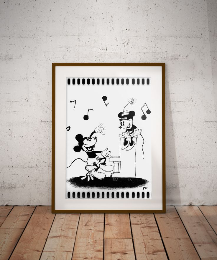 Micky & Minnie Mouse Play Piano Wall Art Print