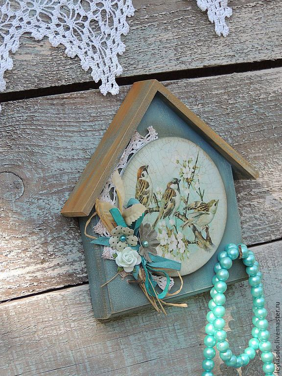 Купить ключница декупаж Воробьи в бирюзовом небе весной для ключей - ключница, ключи, ключница в прихожую