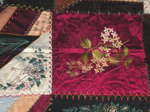 Antique-Silk-Hand-Embroidered-Quilt-Top-64-x-65-amp-Antique-Cotton-Quilt-74-x-74