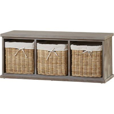 Manufactured wood and solid pine wood frame with wicker baskets, linen basket liners, foam cushion and a polyester cushion cover. Featuring three wicker basket drawers and a seat cushion for extra comfort, this storage bench is a stylish and practical addition to your home – perfect positioned in the hallway as a spot to pull on shoes.