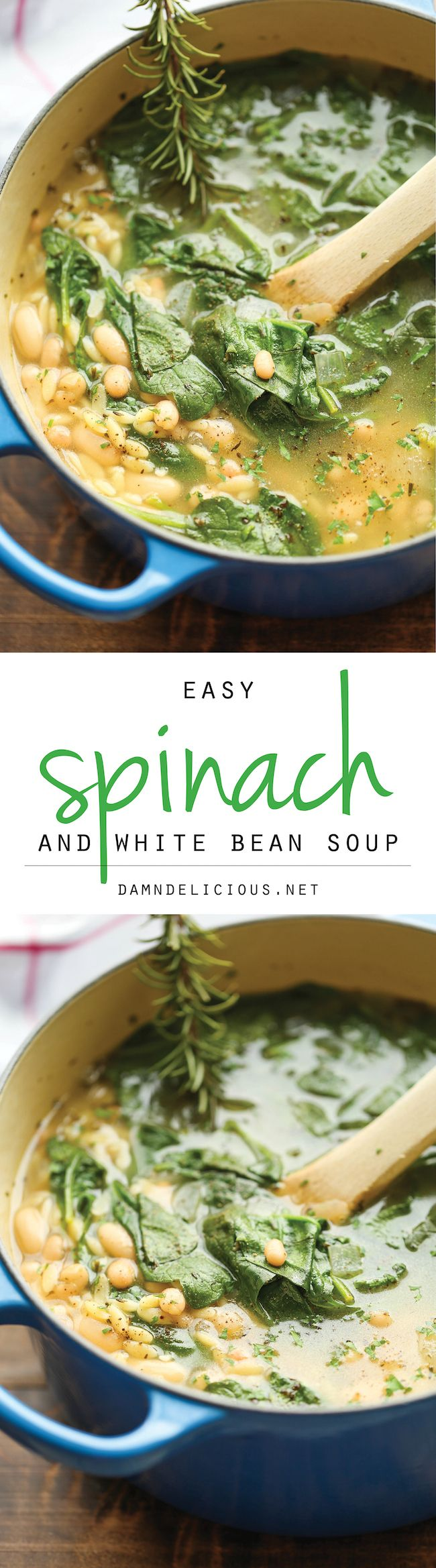 Spinach and White Bean Soup - A healthy and hearty, comforting soup ...