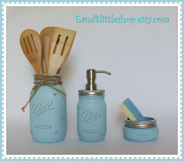 Wedding Gift Kitchen Set : ... gifts-Wedding Gift-Vintage Decor-Shabby Chic-Country Decor Jars