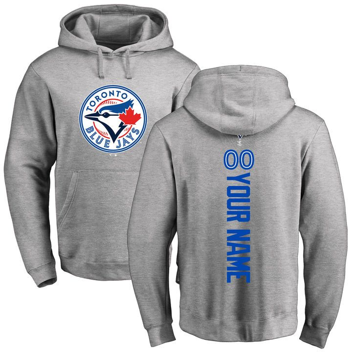 Men's Toronto Blue Jays Ash Personalized Backer Pullover Hoodie