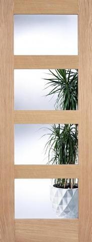 Internal Oak Contemporary 4 Light Clear Glazed Door - MODA DOORS