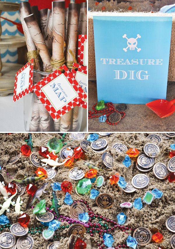 Neverland Pirate Party: treasure maps + dig for treasure pit