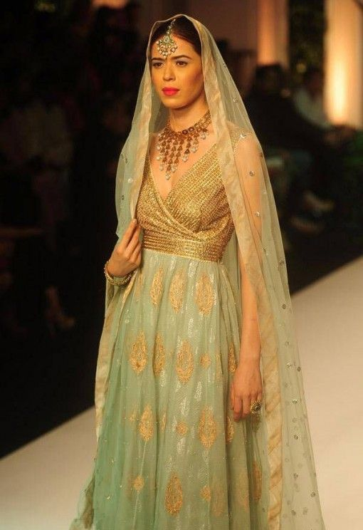 India Bridal Fashion Week 2013: Meera Muzaffar Ali sea green suit and dupatta #salwaar kameez #chudidar #chudidar kameez #anarkali #anarkali suits #dress #indian #outfit  #shaadi #bridal #fashion #style #desi #designer #wedding #gorgeous #beautiful