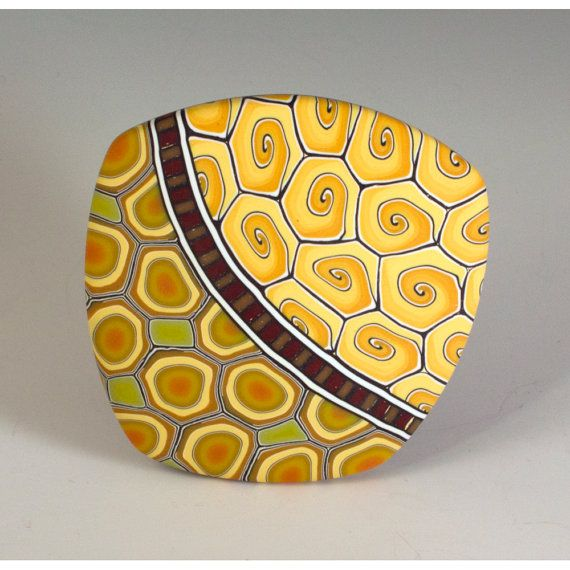 Melanie West - Brooch in Shades of Orange and Green - Spots, Dots and Swirls