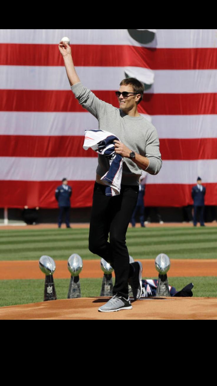 Opening day first pitch at Fenway Park 2017. TB12.
