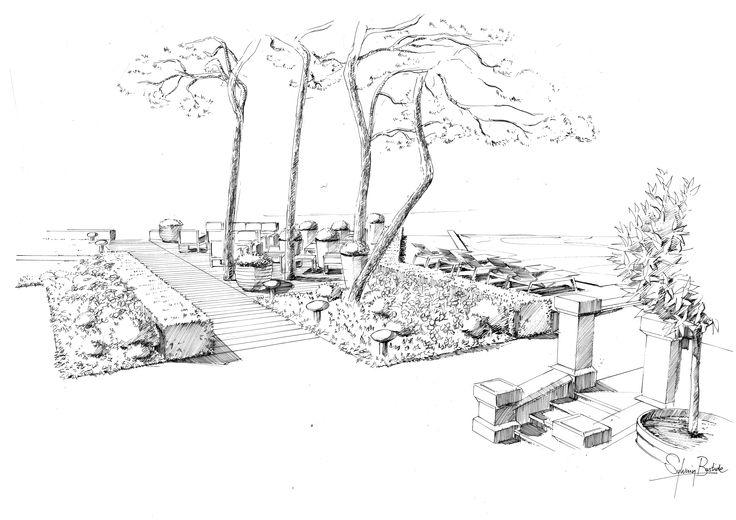 Aménagement paysager Saint-Tropez   Perspective paysage   Dessin - creation de jardin logiciel gratuit