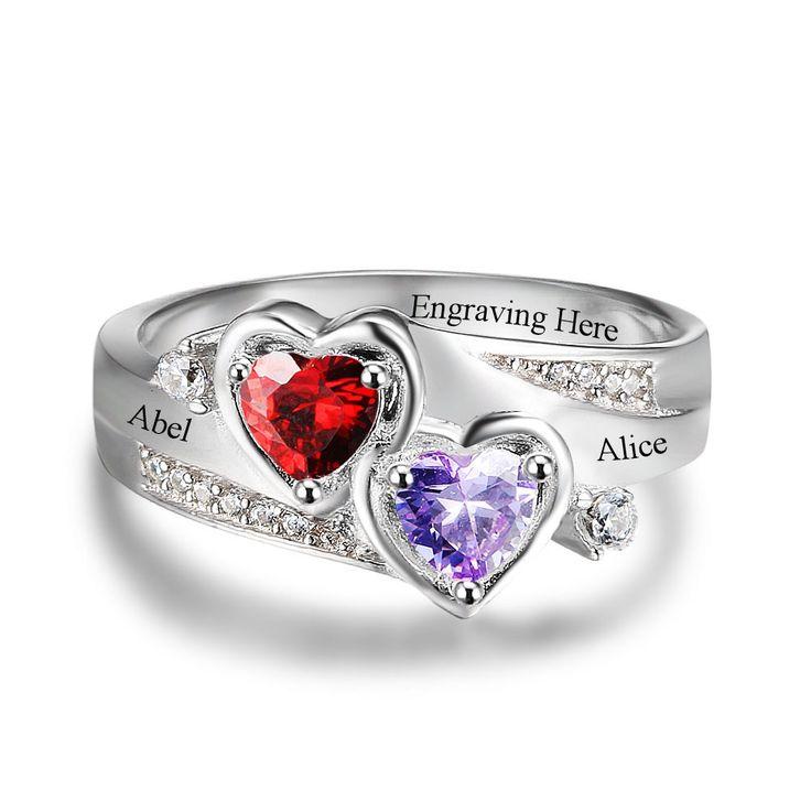 2 Hearts Custom Gemstone Ring