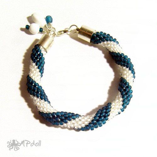 Sea Wave  Bead Crochet Bracelet Crochet Rope Beaded Handmade
