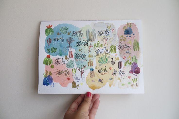 Eliblue Ilustración & diseño #watercolor #acuarelas #bike #bicicleta #cactus #garden #park #parque #jardín #succulent #suculentas