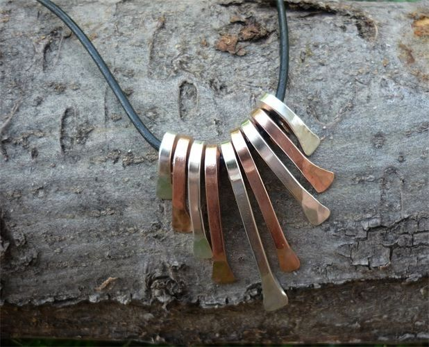 Copper And Silver Paddle Necklace