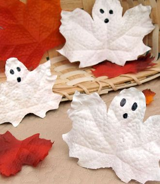 Halloween Leaf Ghosts - Click Pic for More Ideas - #Halloween #Craft #Ideas