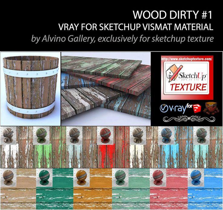 SKETCHUP TEXTURE: Dirty wood vismat material v-ray for sketchup #1