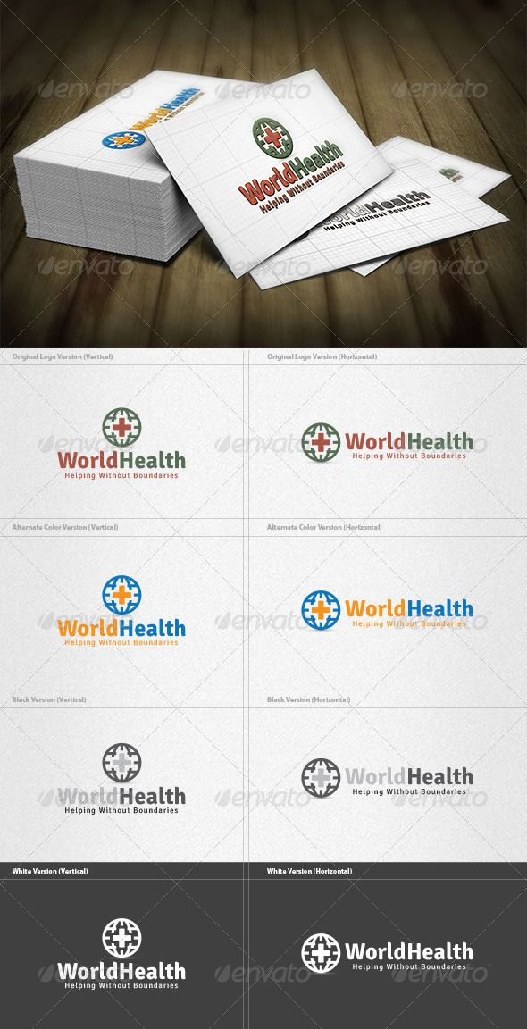 World Health Logo  #GraphicRiver         World Health Logo is a designed for Any types of companies. It is made by simple shapes Although looks very professional. The final file includes 8 variations of the Logo.  Featured:   Unique Slogan  AI CS3 Document  EPS CS & v10 Document  PDF Document  CMYK – 100 % Vector (Re-sizable)  8 Variations (Color, B/W & Inverts)    The free fonts used in the design are: Signika  Which can be downloaded here -  .google /webfonts/specimen/Signika…