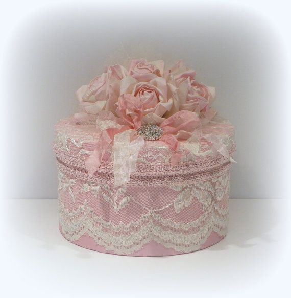 Round Pink Lace , Ribbons and Roses Shabby Chic Keepsake Gift. Box