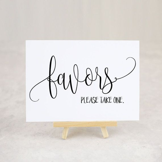 Favor Table Sign, Bridal Shower Favors, Wedding Favor Sign, Please Take a Favor Sign, Party Favors - Size 5 x 7 inches (BRT A7SIGN)