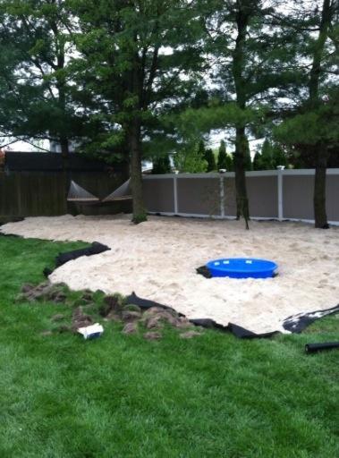 15 tons of white sand for my back yard beach retreat my for Backyard beach ideas