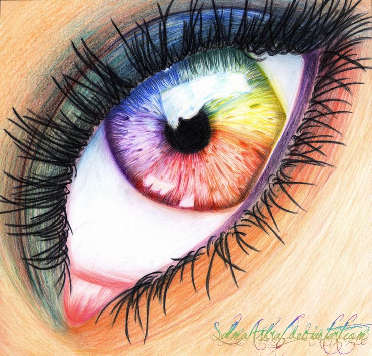 Drawings...rainbow eyes, they need to smudge this in, if they smoothed it with their finger it would get rid of the pencil lines around the eyes, and if they did that to the eye, in a sweeping motin, it would give a twirl to the rainbow. also, if they were looking for a realistic look they would put veins in the eye
