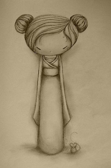 Geisha Kokeshi drawing
