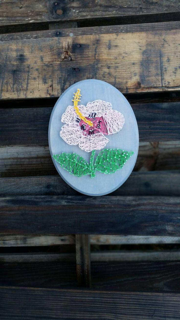 Rose Quartz Hibiscus Flower Sign String Art