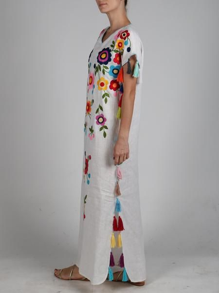 5fbb75896c Fanm Mon White Linen Multi Color Floral Handmade Embroidered Folk Tassels  Maxi Kaftan Style Dress KAF003