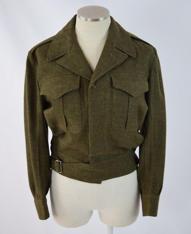 Vtg Green Gaberdine Wool Belted Crop Military Bomber Jacket Coat Mens XS Short #Unbranded #Casual