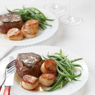 Steak and Scallops with Champagne-Butter Sauce | The perfect Valentine's Day dinner: Surf and Turf! Coastalliving.com