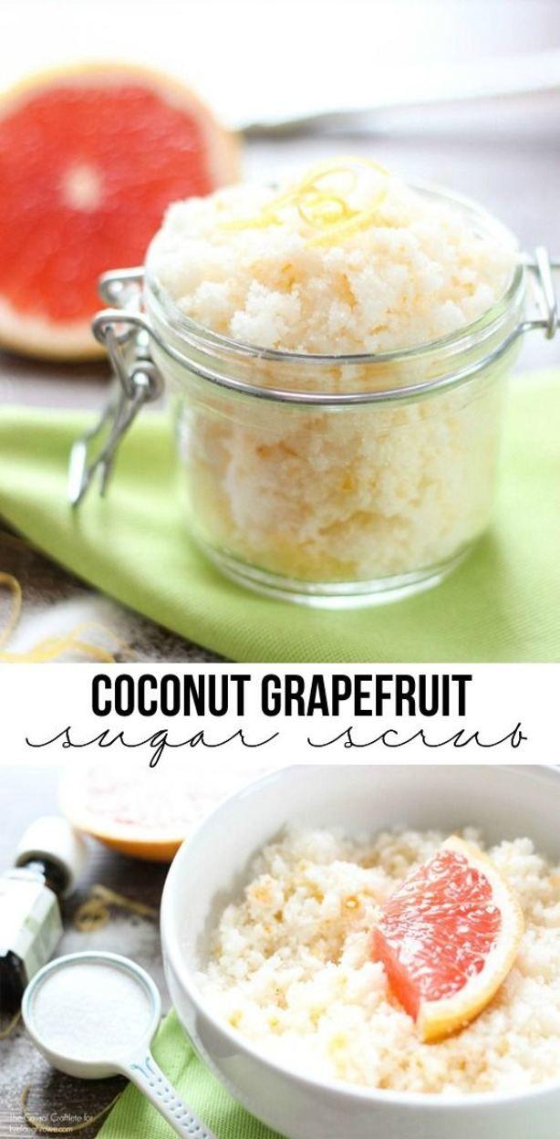 Coconut Grapefruit Sugar Scrub - a refreshing scrub that leaves your skin soft. Recipe at livelaughrowe.com