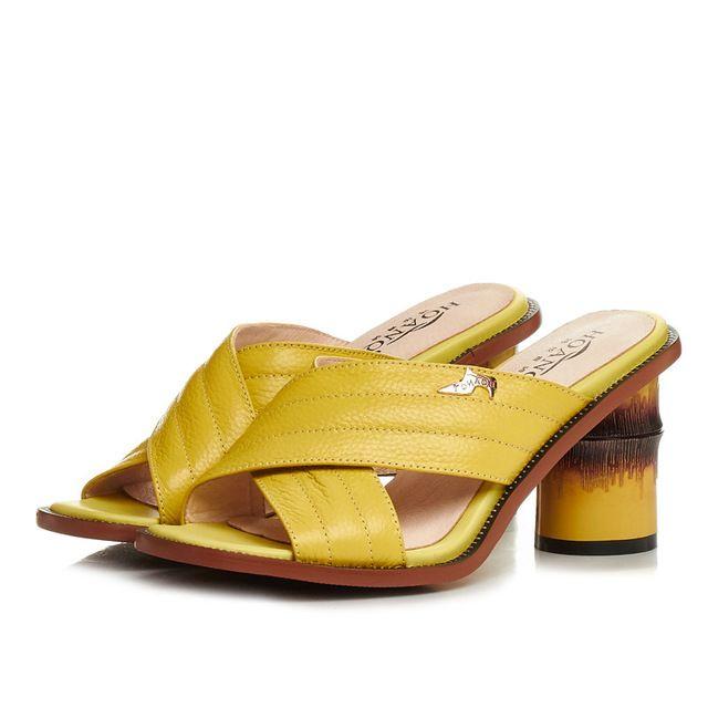Натуральная кожа peep toe креста ремень сандалии женщин белый мулы желтый тапочки бамбук форма высокие каблуки летние сандалии флип-флоп