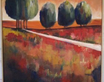 Kleurrijk Abstract landschap bomen kleine door kerriblackmanfineart