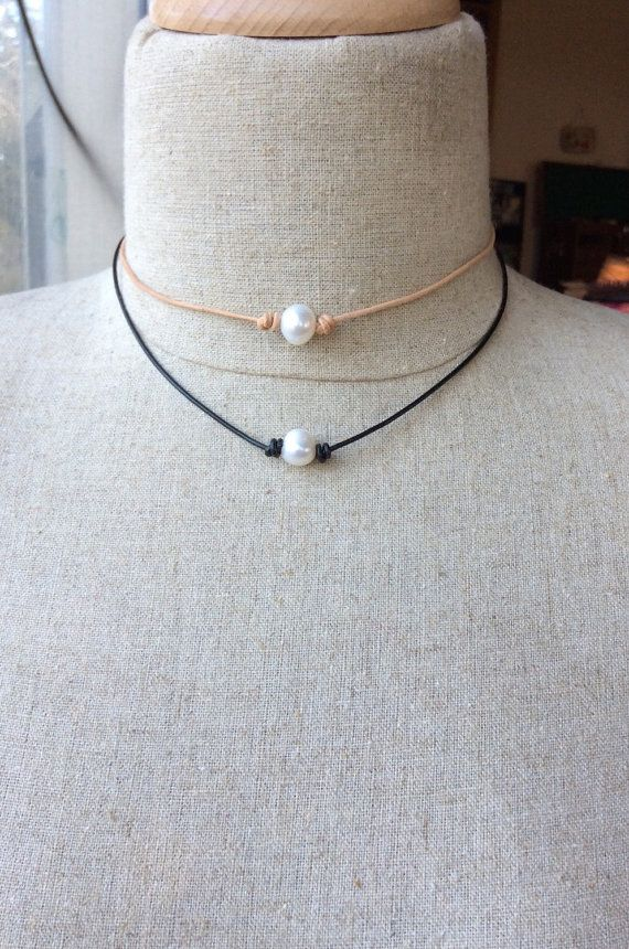 Hey, I found this really awesome Etsy listing at https://www.etsy.com/listing/228750881/leather-pearl-knotted-choker-pearl