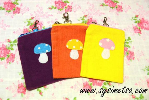 Corduroy Pouch With Mushroom Decor and hook  Orange by TaikaLand