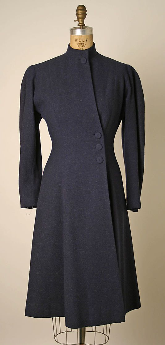 Coat  Valentina  (American, born Russia, 1899–1989)  Date: ca. 1939 Culture: American Medium: wool, silk