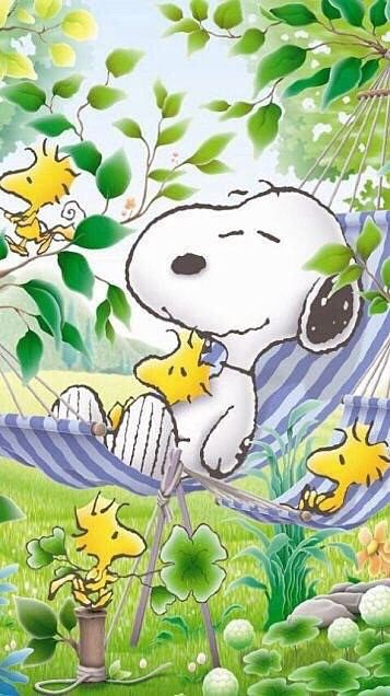 Snoopy, Woodstock and Friends Lying Around in a Hammock in the Spring