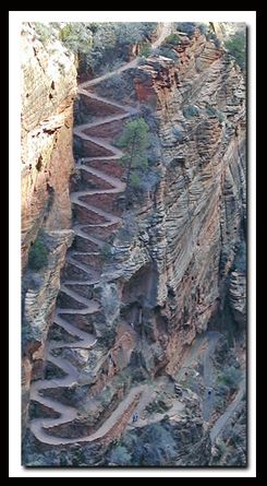 Walter's Wiggles located in Zion National Park in the Southwestern United States near Springdale, Utah.  There are 21 sharp turns to get to the top. Wouldn't want to drive up this road.
