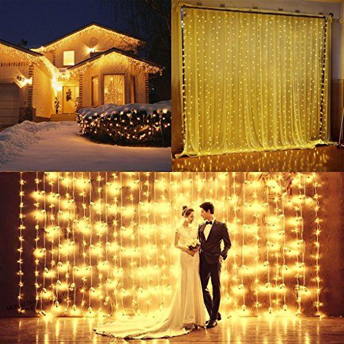 Nofonda 300led Window Curtain Icicle Lights String Fairy Light Wedding Party Home Garden Decorations 3m3m (Warm White)