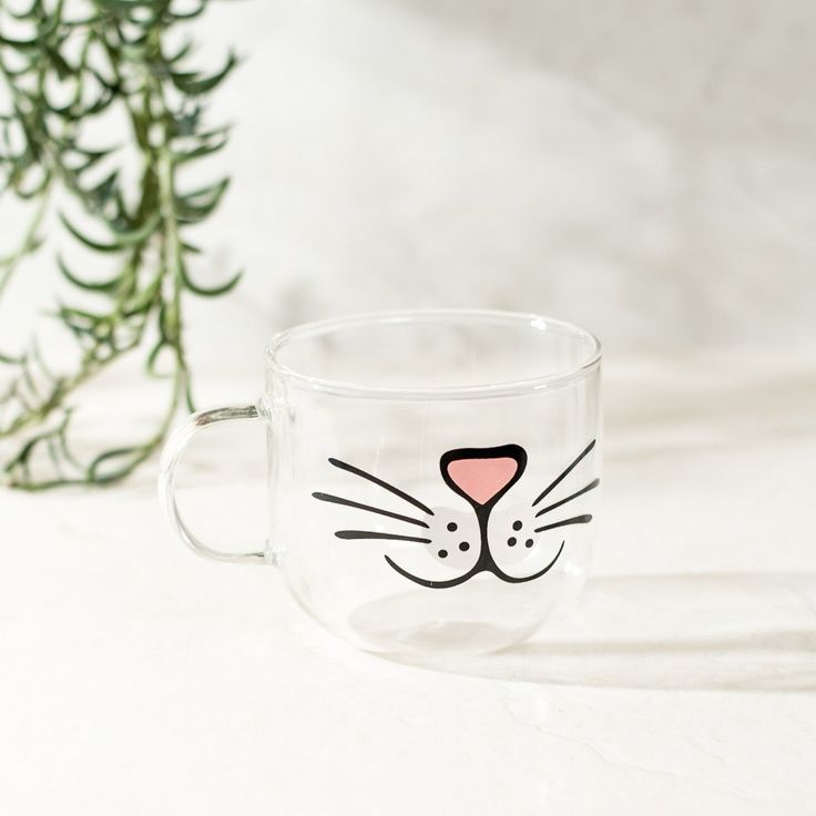 Cat Face Glass Clear Coffee Mug