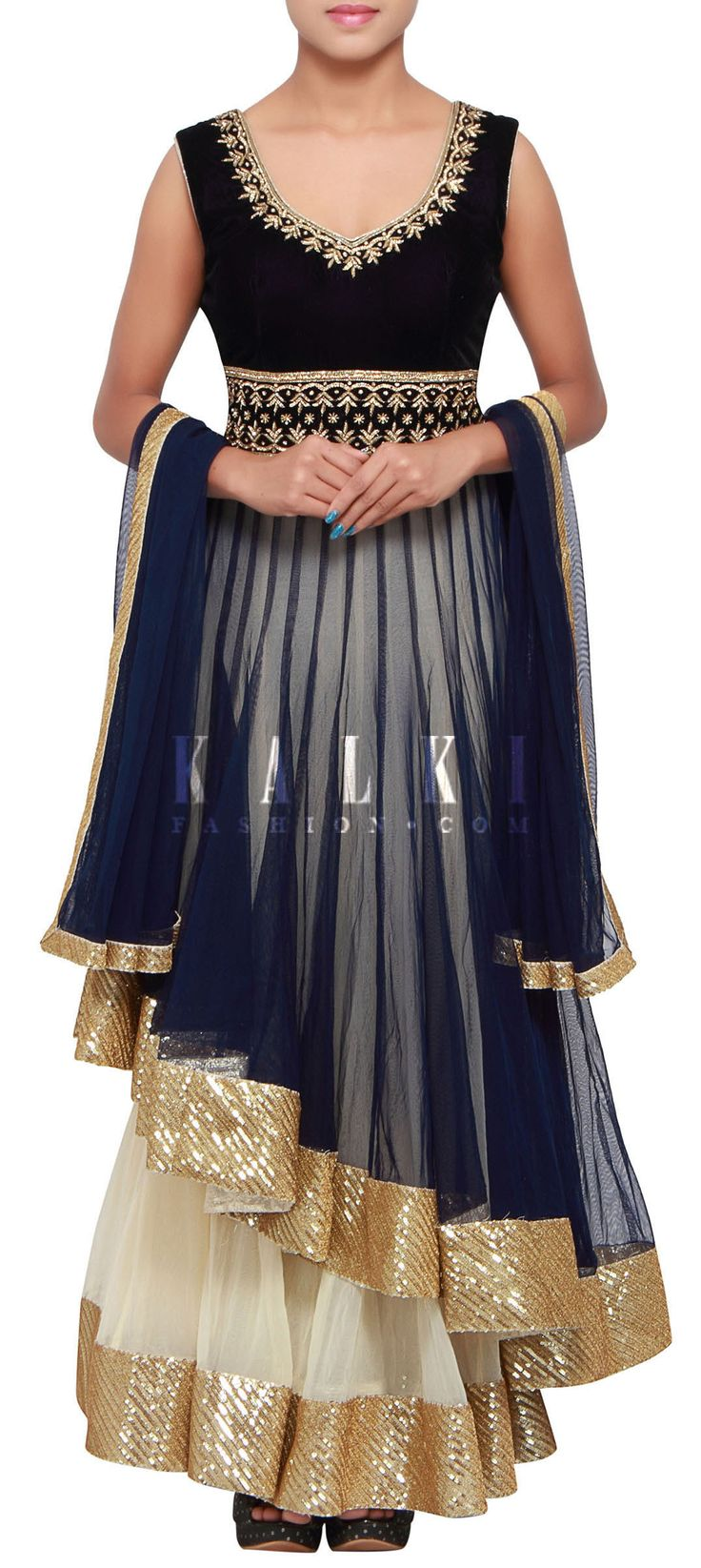 Buy Online from the link below. We ship worldwide (Free Shipping over US$100) http://www.kalkifashion.com/navy-blue-anarkali-suit-featuring-with-under-layer-is-enhanced-in-kundan-embroidery-only-on-kalki.html