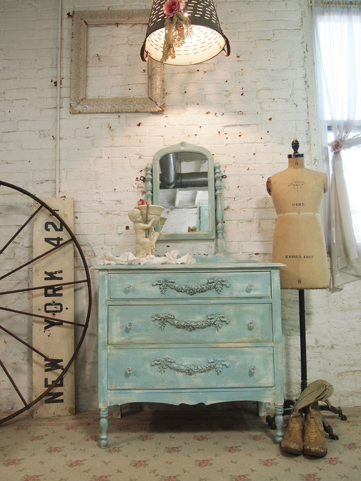 Painted Cottage Chic Shabby Aqua Romantic French Dresser DR09. $325.00 ...