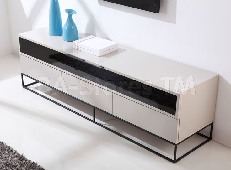 Publicist TV Stand in High-Gloss Cream by B-Modern