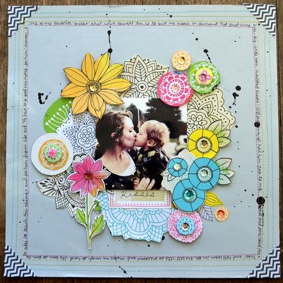 Such a cheerfully awesome springtime pretty scrapbook LO. #scrapbooking #scrapbook #page #layout #flowers #spring