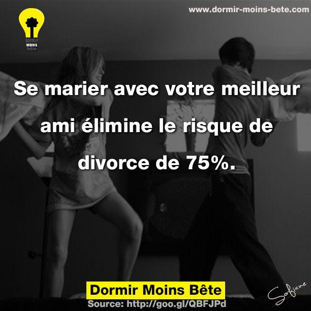 Se marier avec votre meilleur ami élimine le risque de divorce de 75%.
