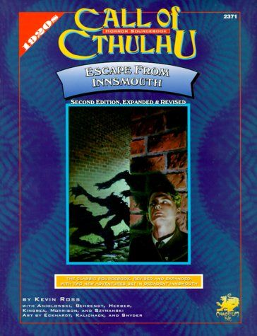 Escape from Innsmouth (Call of Cthulhu Horror Roleplaying) by Robert M. Price and Kevin Ross (Nov 1997) | Book cover and interior art for Call of Cthulhu Roleplaying Game - CoC, Basic Role-Playing System, BRP, The Card Game, TCG, Living Card Game, LCG, Miskatonic University, H. P. Lovecraft, fantasy, horror, Role Playing Game, RPG, Chaosium Inc. | Create your own roleplaying game books w/ RPG Bard: www.rpgbard.com | Not Trusty Sword art: click artwork for source
