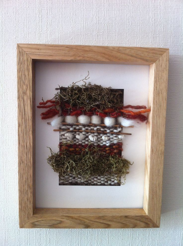 Cuadro de madera, Telar lana oveja y fibras vegetales