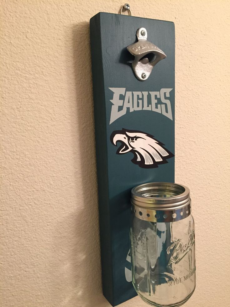 Philadelphia EAGLES Bottle Opener with Mason Jar Rustic Football EAGLES PHILADELPHIA - pinned by pin4etsy.com