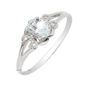 Half Carat Aquamarine Engagement Ring on Silver